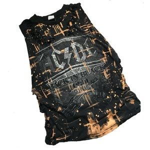 RESTYLED | Bleached cut up AC/DC sleeveless cutoff